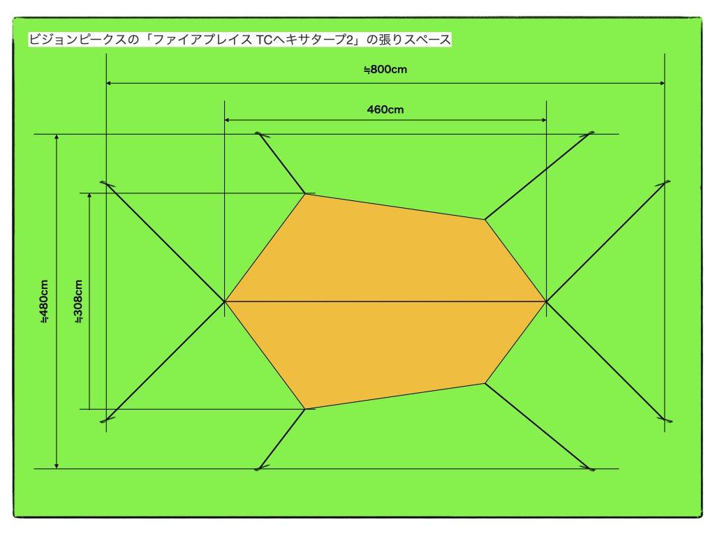 ビジョンピークスの「ファイアプレイス TCヘキサタープ2」張りスペース